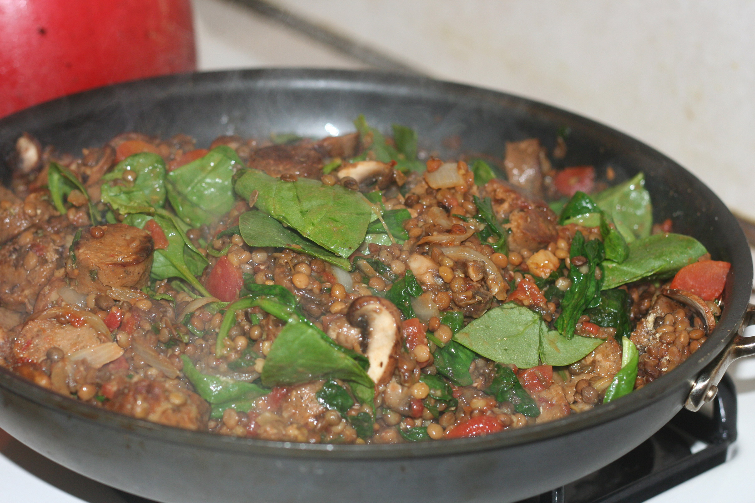 Italian Sausage and Lentils with Spinach and Mushrooms   Confident ...