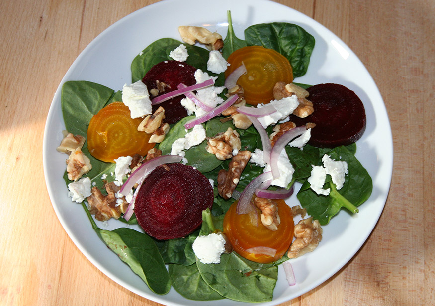 Spinach and Beet Salad with Goat Cheese | Confident Cook, Hesitant ...